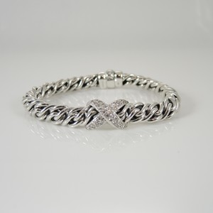 David Yurman David Yurman Sterling Silver .80tcw Lyrica Pave Diamond X Bracelet