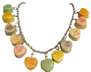 Other Vintage Conversation Hearts Resin Coated Charm Necklace