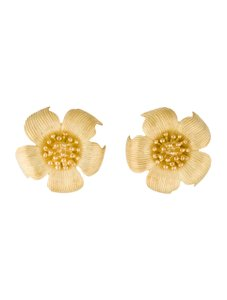 Tiffany & Co. 18k yellow gold large flower earrings omega