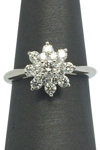 14K Solid White Gold 3 Layers Flower Diamond Ring
