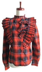 See by Chloé Plaid Ruffle Top red, navy
