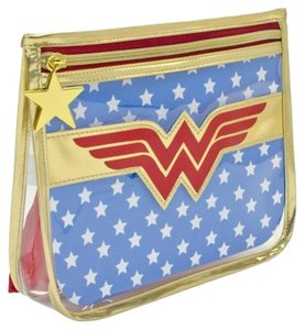 SOHO Beauty New WONDER WOMAN Make-Up Bag with Cape Clear Plastic Logo Zip Top