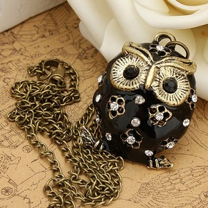 Black Enamel Sweater Rhinestone Owl Necklace Free Shipping