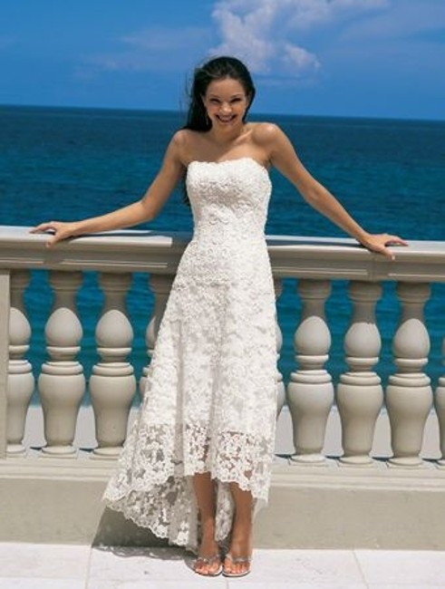 Item - White Lace High Low Strapless Top Designer Casual Wedding Dress Size 18 (XL, Plus 0x)