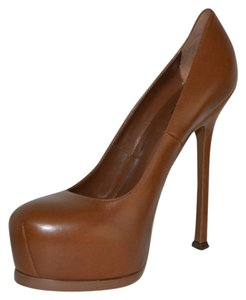 Saint Laurent Hidden Platform Tribtoo Tribute Leather Cognac Pumps