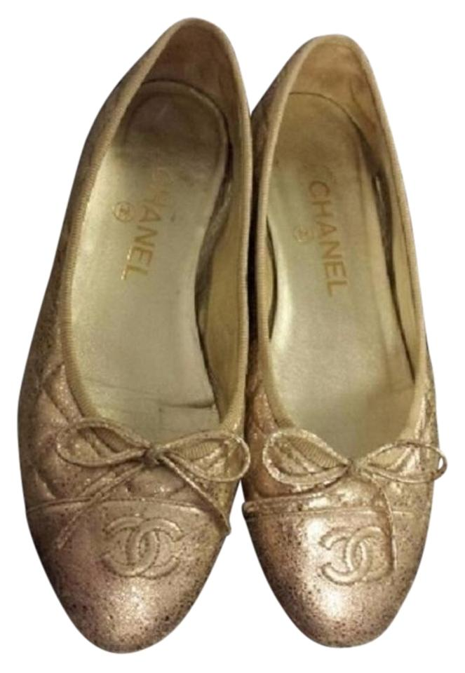 0061243f7 Chanel Gold Quilted Ballet 36.5 Flats Size US 6.5 Regular (M, B ...