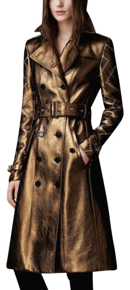 another chance discount coupon affordable price Burberry Bronze Womens Eyelet Detail Leather Us Eu 40 Coat Size 6 (S) 54%  off retail