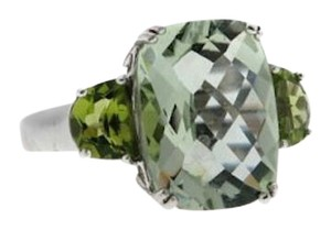 WOW -10k gold cushion cut praseolite & peridot 3-stone ring