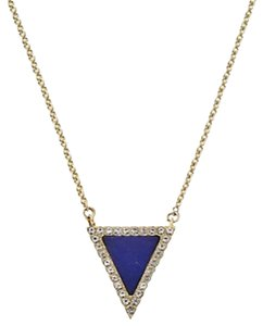 Michael Kors NWT! Michael Kors Lapis Blue Triangle Pendant Necklace Golden Tone