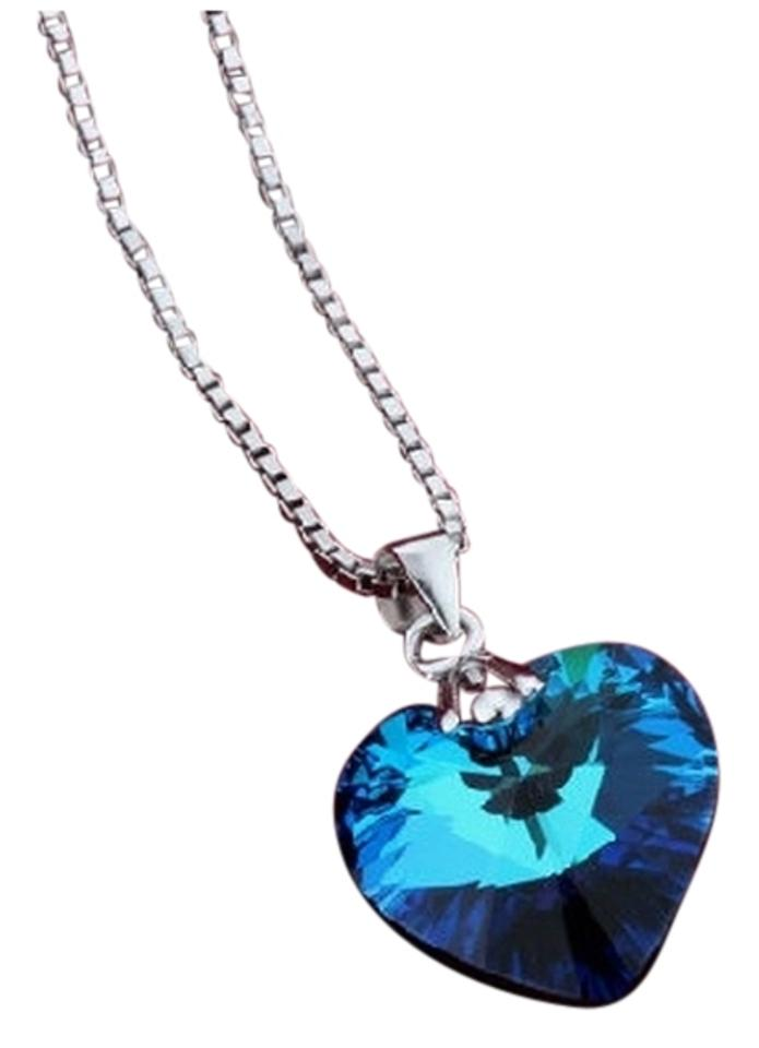 Blue sterling silver ocean heart inspired titanic necklace tradesy luxury designer luxury sterling silver ocean heart inspired titanic necklace aloadofball Choice Image
