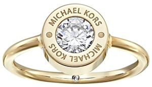 Michael Kors NWT. Yellow Gold Tone Crystal Logo Ring