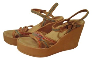 Skechers Ankle Strap Embroidered Embellished Leather Tan Wedges