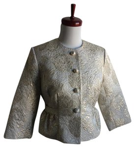 Forth & Towne Gold Brocade Floral gold, ivory Blazer
