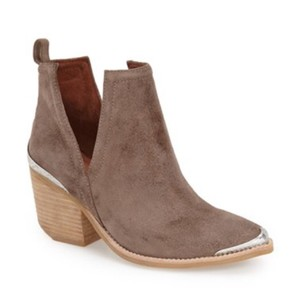 Jeffrey Campbell Taupe Distressed Suede Boots