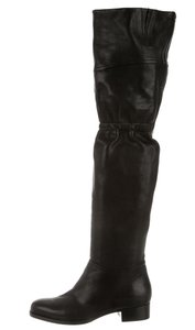 Jimmy Choo Round Toe Leather Black Boots
