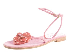 Chanel Chain Quilted Interlocking Cc Pink, Gold Sandals
