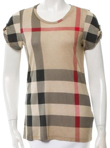 Burberry Nova Check Cotton Monogram Plaid Sleeveless T Shirt Beige, Black