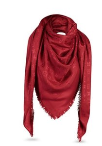 Louis Vuitton Authentic NEW Louis Vuitton Monogram Silk Wool Scarf Shawl in Red