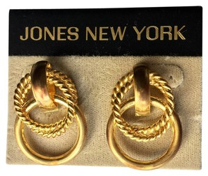 Jones New York Vintage Jones NY Gold Tone Earrings Double Ring