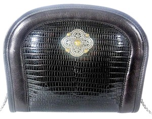 Brighton Snake Embossed Leather Chain Shoulder Small Black Clutch
