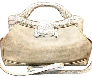 Brahmin Satchel in White And Ivory