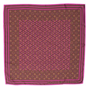 Louis Vuitton Purple, Brown Louis Vuitton LV Monogram silk scarf