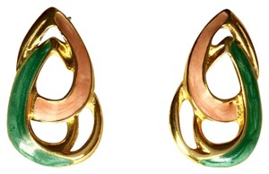 Vintage Teardrop Post Earrings Gold Tone Enamel Pink Green