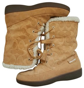 Coach Shearling Suede Lace Up Camel Tan Boots