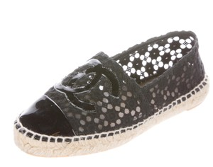Chanel Espadrille Interlocking Cc Black, Beige Flats