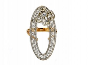 MUST SEE-14k gold Edwardian oval diamond filigree bow pin ring