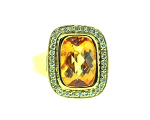 STEAL - 14k 8 cts Citrine & diamond cocktail right hand ring