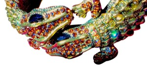 Rhinestone Crocodile Alligator Cuff Metal Bracelet | Light Catcher
