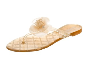 Chanel Glitter Interlocking Cc Camellia Hardware Logo Yellow, Orange, Gold Sandals