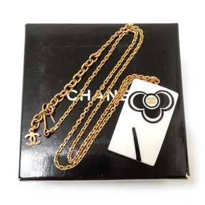 Chanel CHANEL Gold Plated Modern White Plate Necklace with CC logo