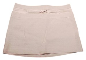 bebe Mini Gold Hardware Mini Skirt White