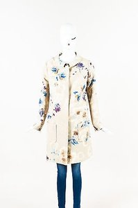Dior Christian Beige Blue Wool Silk Watercolor Print Coat