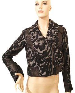 Diane von Furstenberg Dvf Wool Leather Leopard Leather black Jacket