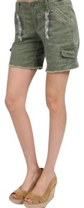Free People Olive Drab Oversized Cut Off Shorts Green