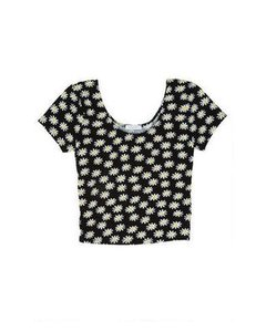 dELiA*s Crop Floral Flowers T Shirt Black