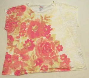 Ruby Rd. Camisole Tank Burnout T Shirt Cream with Pink Flowers