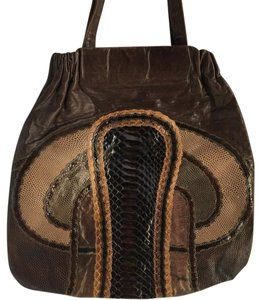 Carlos Falchi Vintage Patchwork Large Snakeskin Leather Tote in Brown