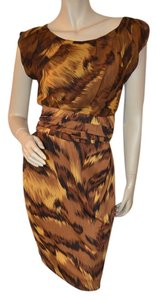 Diane von Furstenberg Career Dvf Silk Brown Dress