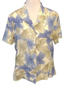 Alfred Dunner Floral Classic Shortsleeve Top Blue, Gray and White