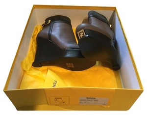 Fendi Logo New In Box Wedge Brown,Black Boots