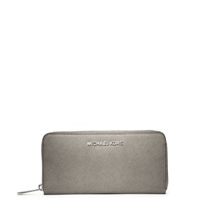 Michael Kors Jet Set Travel Zip Around Continental Leather Wallet Pearl Grey