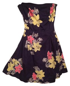 Lilly Pulitzer short dress Navy with flowers Strapless on Tradesy