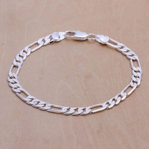 Unisex Sterling Silver Figaro Link Bracelet Free Shipping