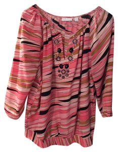 New York & Company Top Pink striped