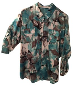 Susan Graver Button Down Shirt Multi teal/gray