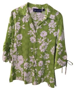 Susan Graver Button Down Shirt lime/white